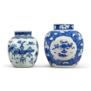 View 3. Thumbnail of Lot 31. Two blue and white jars and covers, Qing dynasty.