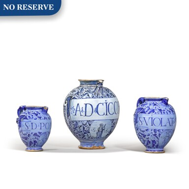 View 1. Thumbnail of Lot 6. Three Italian maiolica syrup jars, probably Montelupo or perhaps Venice, circa 1580 and circa 1620.