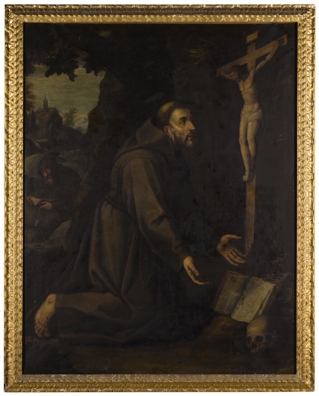 HISPANO FLEMISH SCHOOL, SECOND QUARTER OF 17TH CENTURY | Saint Francis kneeling before a crucifix