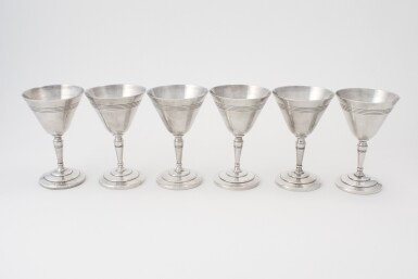View 1. Thumbnail of Lot 8. A SET OF SIX ENGLISH SILVER-PLATED COCKTAIL GLASSES .
