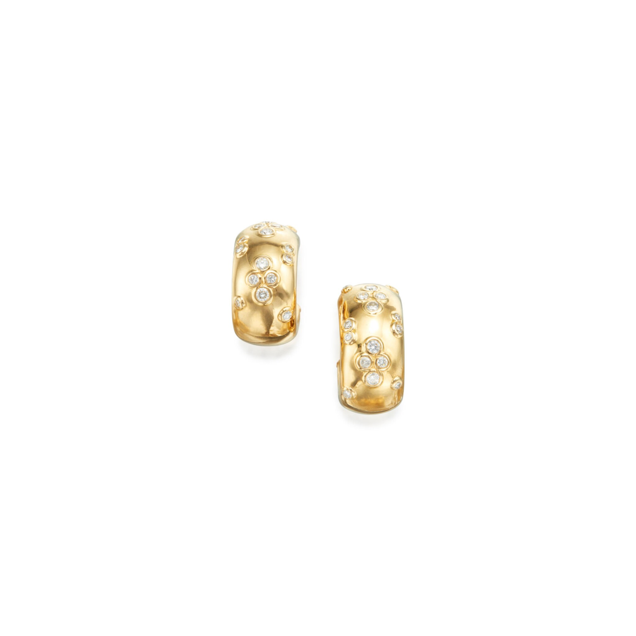 View full screen - View 1 of Lot 69.  PAIR OF GOLD AND DIAMOND EARCLIPS, CARTIER, FRANCE.