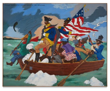 View 1. Thumbnail of Lot 108. George Washington Carver Crossing the Delaware: Page from an American History Textbook.