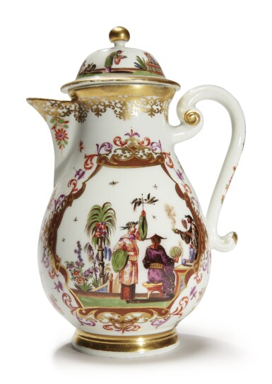 View 2. Thumbnail of Lot 203. A RARE MEISSEN CHINOISERIE COFFEE POT AND COVER CIRCA 1725-28 .