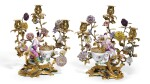 A PAIR OF LOUIS XV/XVI ORMOLU AND MEISSEN PORCELAIN THREE-LIGHT CANDELABRA WITH A SULTAN AND SULTANA, MID-18TH CENTURY