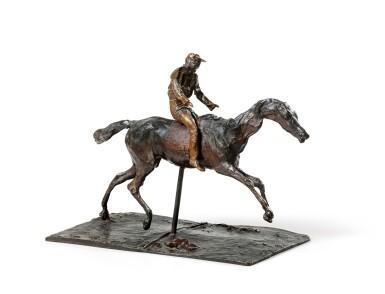 View 2. Thumbnail of Lot 226. Cheval au galop sur le pied droit, le pied gauche arrière seul touchant terre ; jockey monté sur le cheval.