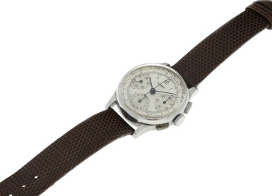 View 6. Thumbnail of Lot 97.  LECOULTRE   REFERENCE 7090  RETAILED BY CARTIER: A STAINLESS STEEL CHRONOGRAPH WRISTWATCH, CIRCA 1945.