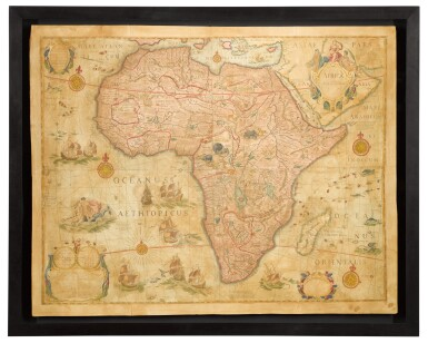 View 2. Thumbnail of Lot 39. Willem Blaeu | A set of four wall maps of the continents, 1673 or later.