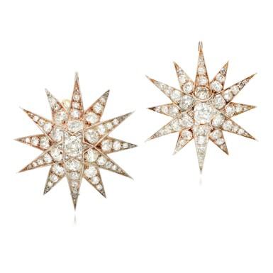 View 1. Thumbnail of Lot 89. Pair of diamond earrings/pendants, late 19th century.