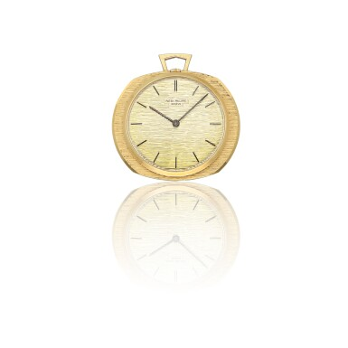 PATEK PHILIPPE | GILBERT ALBERT REF 798, A YELLOW GOLD OPEN FACE POCKET WATCH WITH ASSOCIATED CHAIN MADE IN 1962