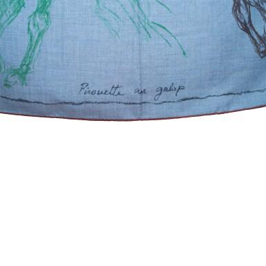 "View 2. Thumbnail of Lot 25. Hermès ""Pirouette au Galop"" Cashmere and Silk Shawl 140cm."