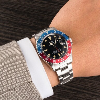 View 4. Thumbnail of Lot 9. ROLEX | GMT-Master, Ref. 1675, A Stainless Steel Wristwatch with Bracelet Circa 1972.