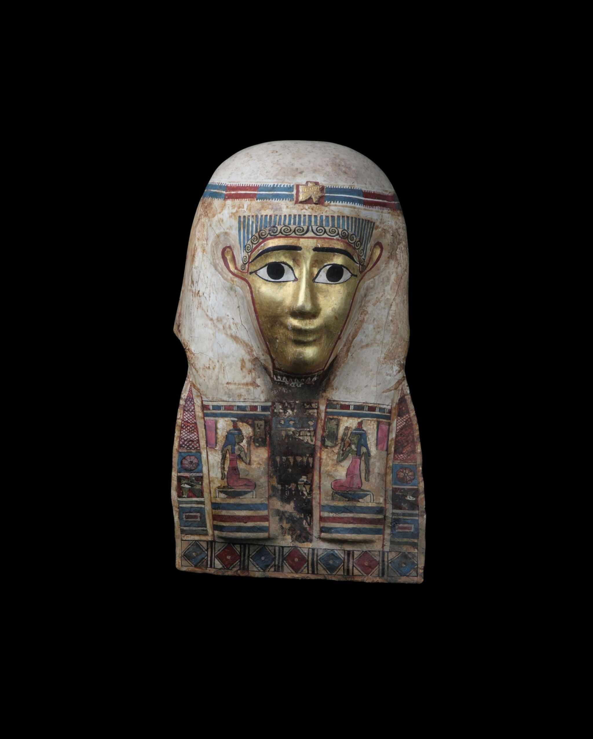 View 1 of Lot 35. An Egyptian Polychrome and Gilt Cartonnage Mummy Mask, late Ptolemaic Period, circa 100-30 B.C..