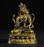 A GILT-BRONZE FIGURE OF A BODHISATTVA QING DYNASTY, 18TH CENTURY | 清十八世紀 鎏金銅四臂菩薩坐像