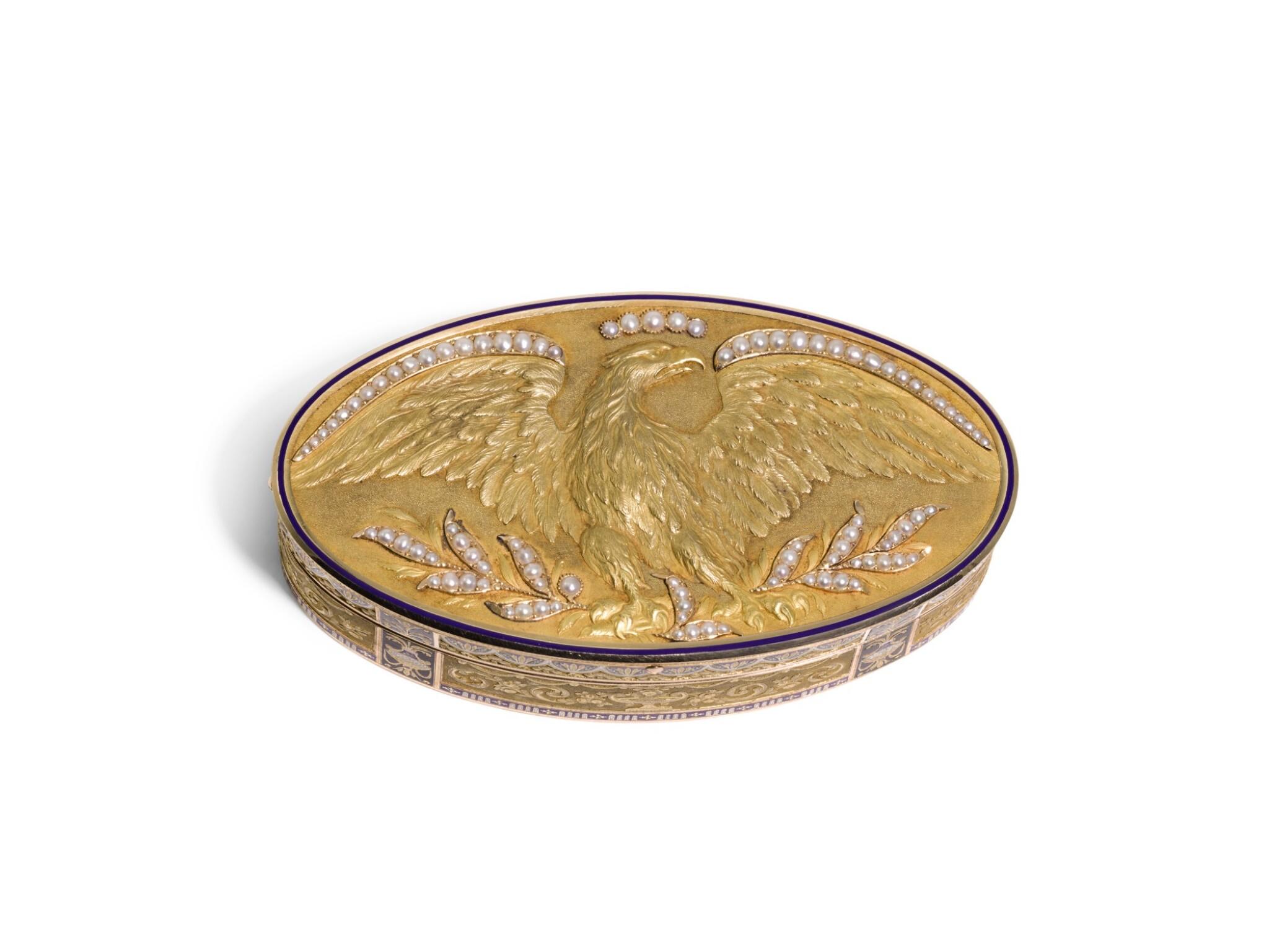 A GOLD, ENAMEL AND PEARL SNUFF BOX, RÉMOND, LAMY, MERCIER & CO., GENEVA, CIRCA 1814
