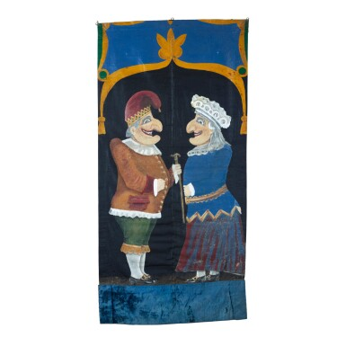 RARE PUNCH AND JUDY PUPPET THEATER BANNER, CIRCA 1920