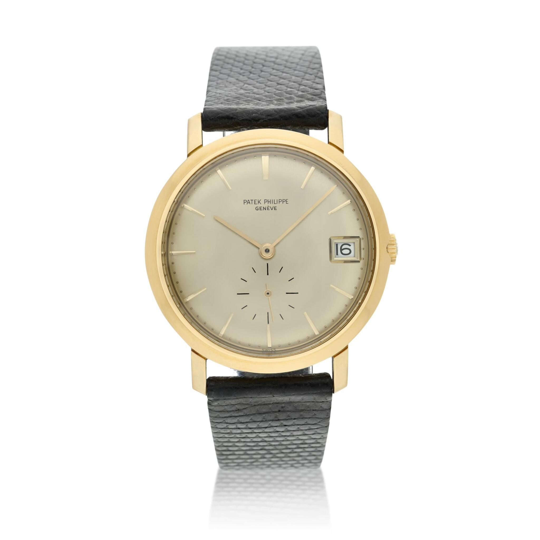 View full screen - View 1 of Lot 246. Reference 3445  A yellow gold automatic wristwatch with date, Made in 1972.