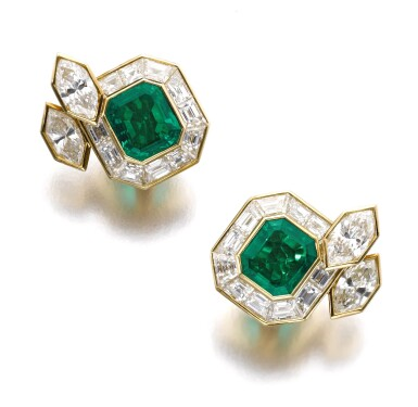 View 1. Thumbnail of Lot 1204. Pair of emerald and diamond ear clips.