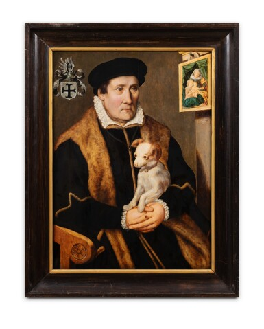 View 2. Thumbnail of Lot 104. Portrait of a man holding a dog in his hands.