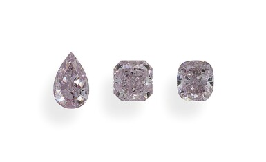 A Group of 3 Fancy Purplish Pink Diamonds   Sold to Benefit the Breast Cancer Research Foundation
