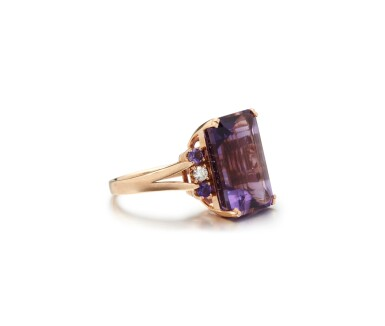 View 2. Thumbnail of Lot 10. AMETHYST AND DIAMOND RING.