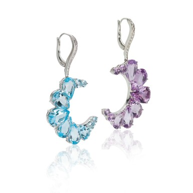 View 3. Thumbnail of Lot 14. PAIR OF AMETHYST, BLUE TOPAZ AND DIAMOND EARRINGS, MICHELE DELLA VALLE.