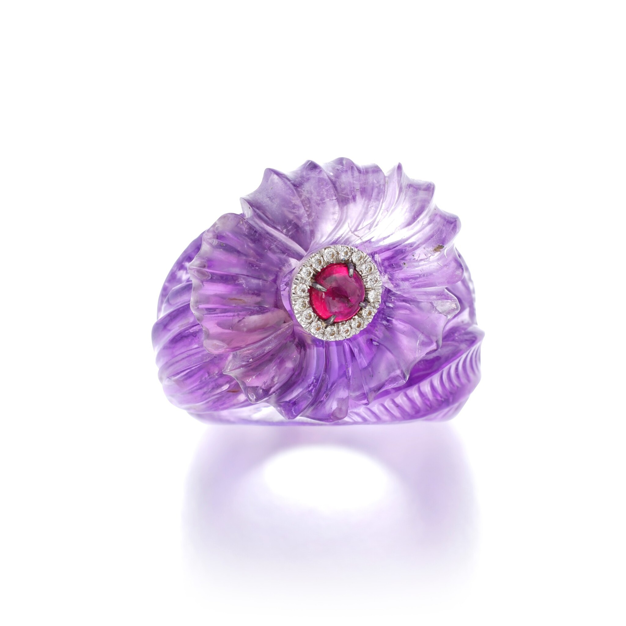 View full screen - View 1 of Lot 27. MICHELE DELLA VALLE | AMETHYST, RUBY AND DIAMOND RING.