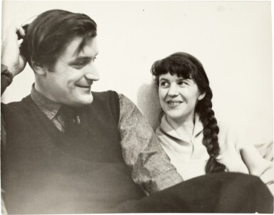 View 2. Thumbnail of Lot 43. Sylvia Plath and Ted Hughes | photographic portrait by David Bailey, inscribed by Plath, 1961, and another press photo.