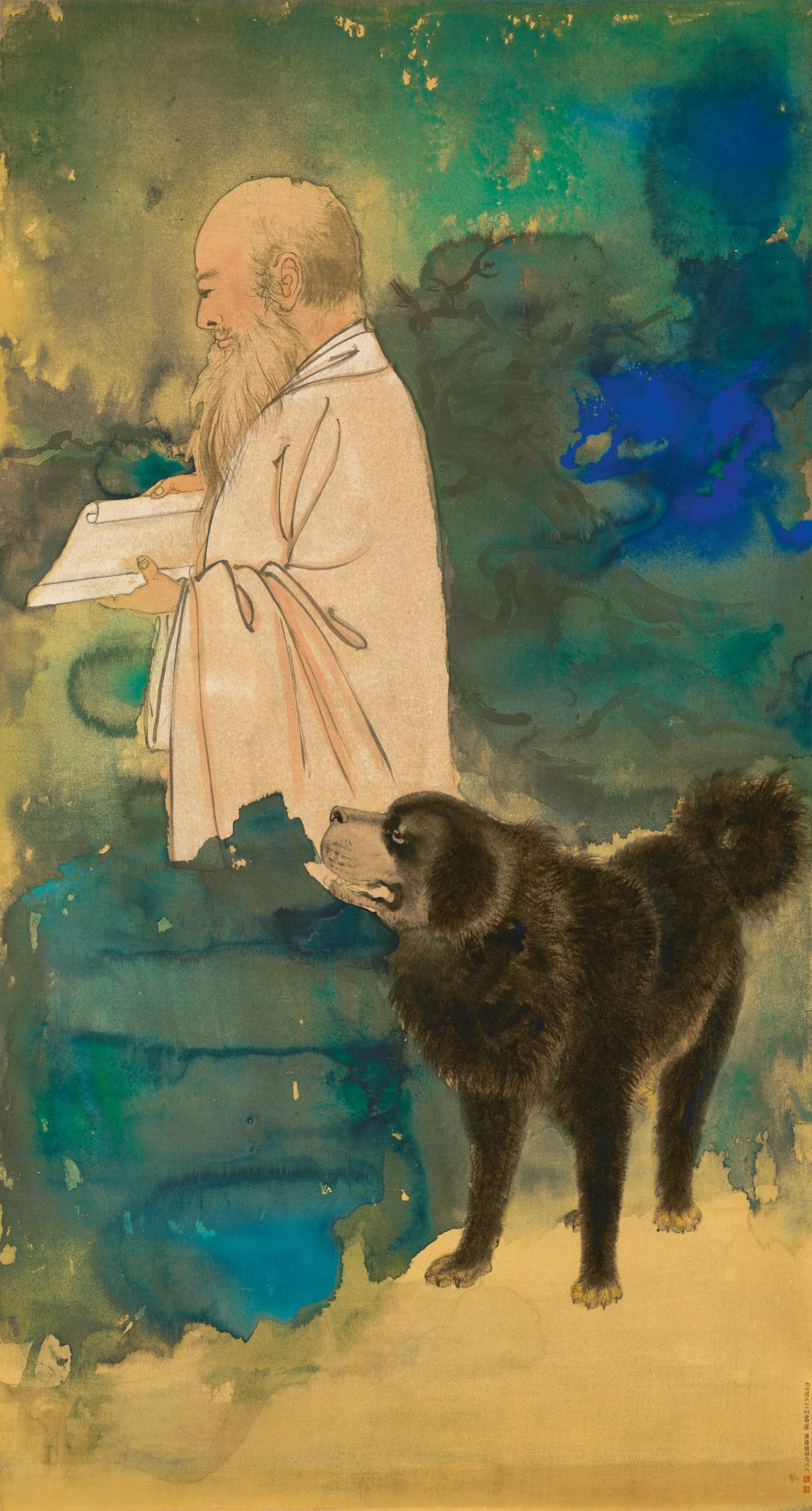 View full screen - View 1 of Lot 8003. Zhang Daqian, Self Portrait with a Tibetan Mastiff ︳張大千  自畫像與黑虎.