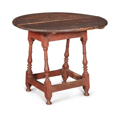 View 2. Thumbnail of Lot 1. William and Mary Red-Painted Maple and Pine Tilt-Top Tavern Table, New England, circa 1730.