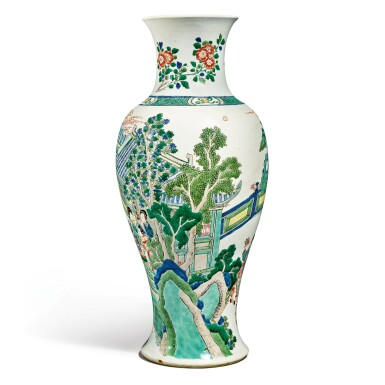 View 4. Thumbnail of Lot 141. A famille-verte baluster vase, Qing dynasty, Kangxi period | 清康熙 五彩人物故事圖瓶.
