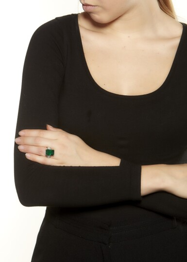 View 4. Thumbnail of Lot 64. EMERALD AND DIAMOND RING.