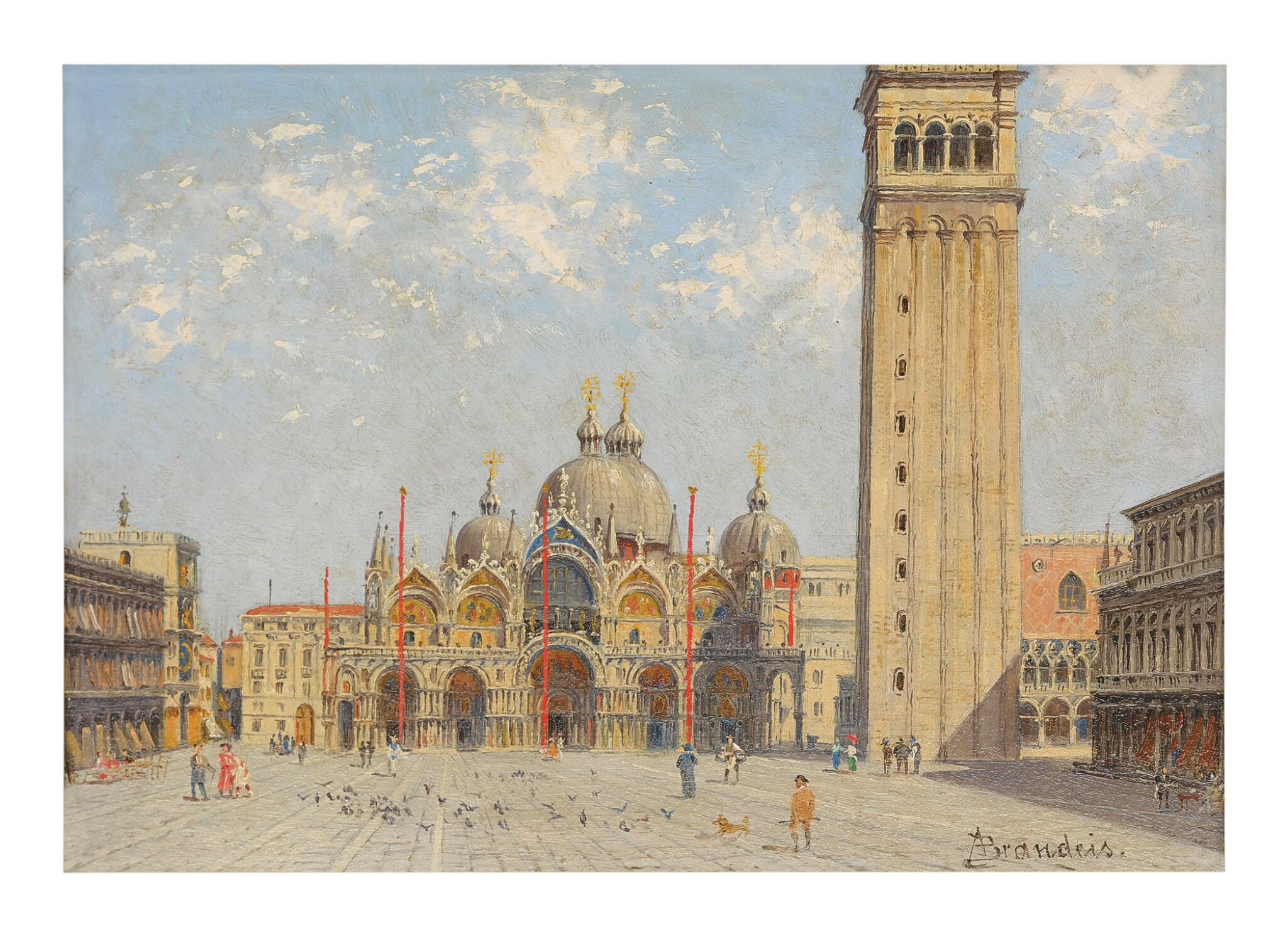 View full screen - View 1 of Lot 300. ANTONIETTA BRANDEIS | PIAZZA SAN MARCO WITH THE PALAZZO DUCALE AND CAMPANILE.