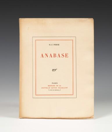 View 1. Thumbnail of Lot 176. Anabase. NRF, 1924. Bel exemplaire broché. 1/15 exemplaires de tête sur Whatman.