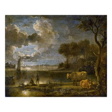 View 1. Thumbnail of Lot 133. FOLLOWER OF AERT VAN DER NEER   MOONLIT RIVER LANDSCAPE WITH BOATS, FISHERMAN AND COWS.