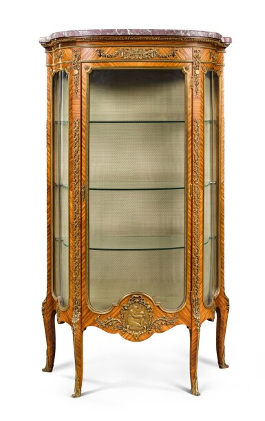 View 1. Thumbnail of Lot 17. A FRENCH GILT-BRONZE MOUNTED TULIPWOOD VITRINE, BY FRANÇOIS LINKE, CIRCA 1900.