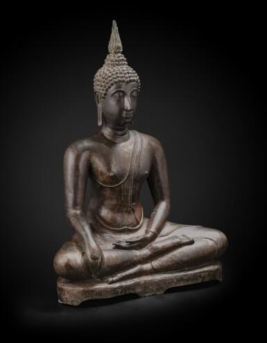 View 3. Thumbnail of Lot 238. A large bronze seated Buddha Thailand, Ayutthaya period, 15th-17th century | 暹邏 十五至十七世紀 阿瑜陀耶式銅佛坐像.