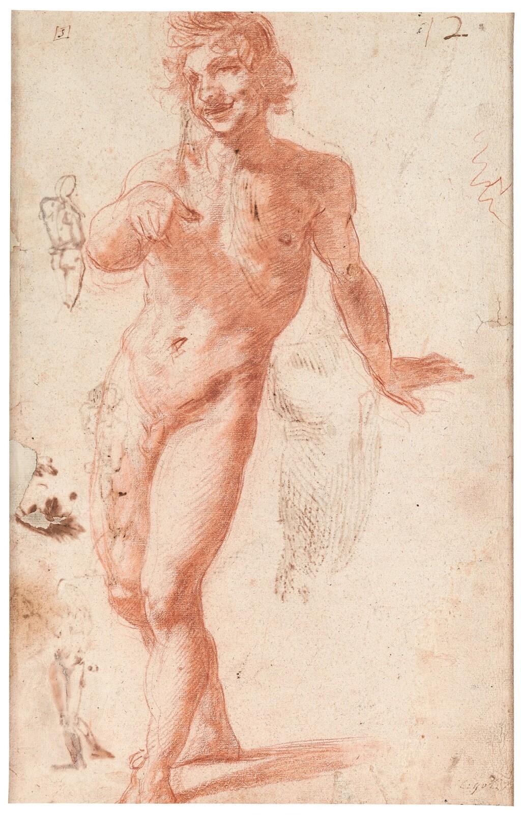 LODOVICO CARDI, CALLED IL CIGOLI   RECTO:  STUDY OF A MALE NUDE, WALKING VERSO: STUDIES OF NUDES