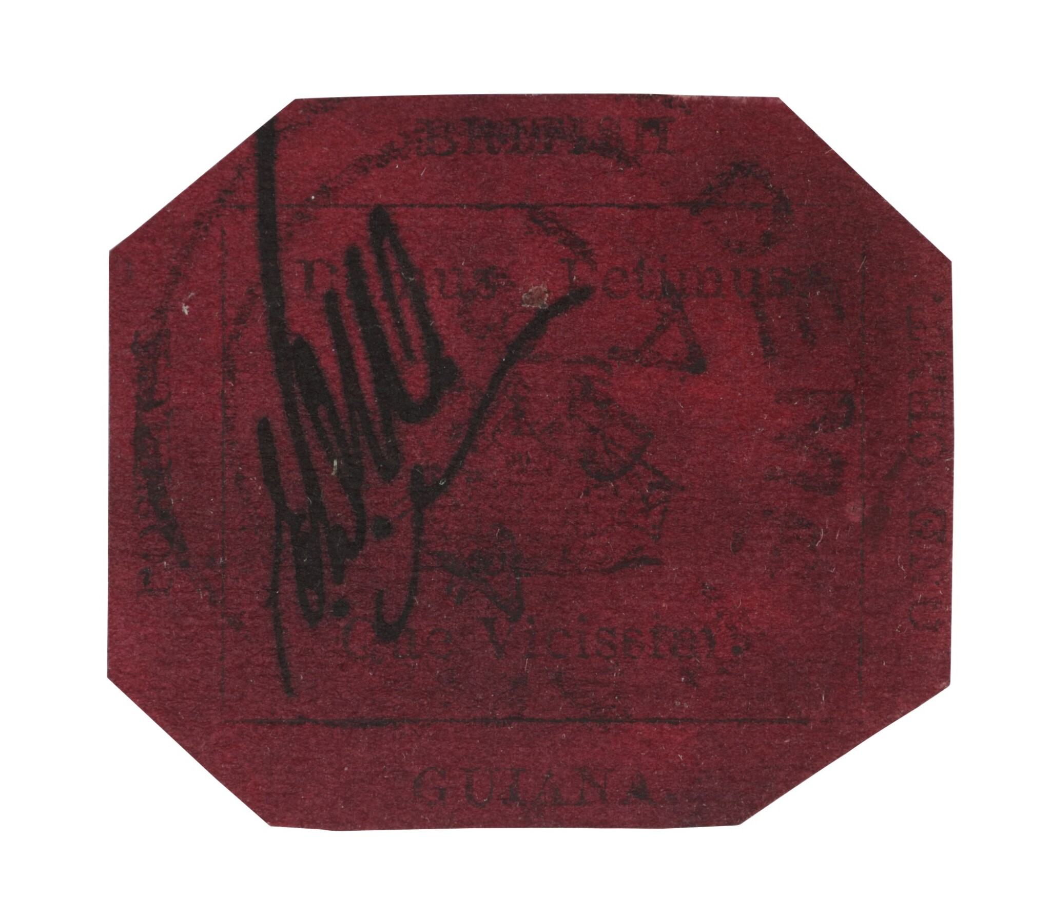 View full screen - View 1 of Lot 3. The British Guiana One-Cent Black on Magenta.
