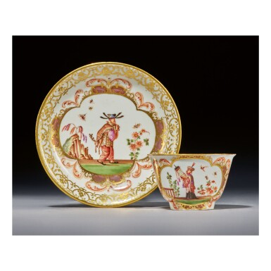 A MEISSEN CHINOISERIE TEABOWL AND SAUCER CIRCA 1723