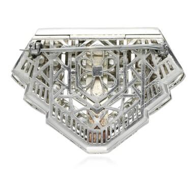View 3. Thumbnail of Lot 124. Diamond clip-brooch, 1920s.