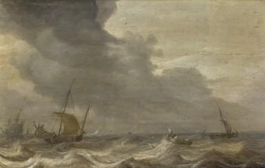 BONAVENTURA PEETERS THE ELDER | Shipping vessels in stormy waters, the coast beyond