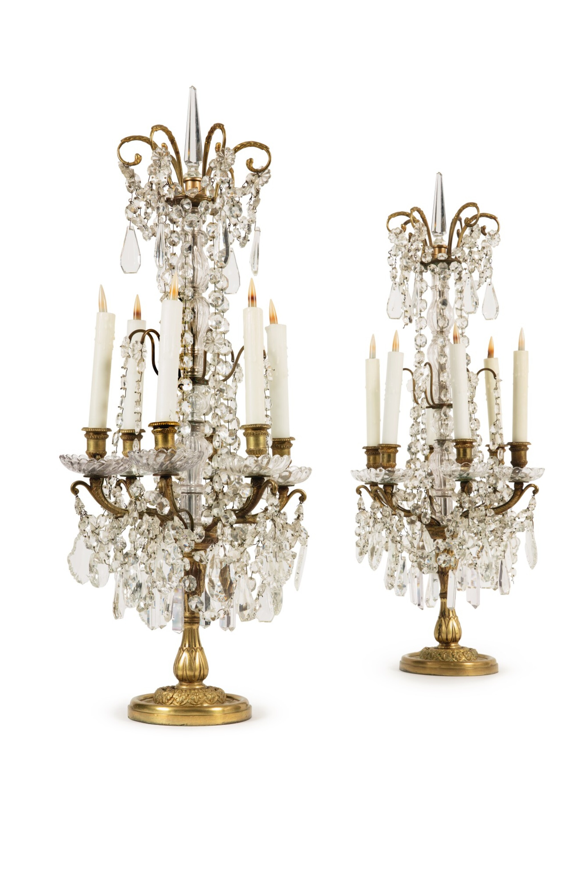 View full screen - View 1 of Lot 312. A PAIR OF REGENCE STYLE GILT BRONZE, CUT-GLASS, AND ROCK CRYSTAL GIRANDOLES, 19TH CENTURY.