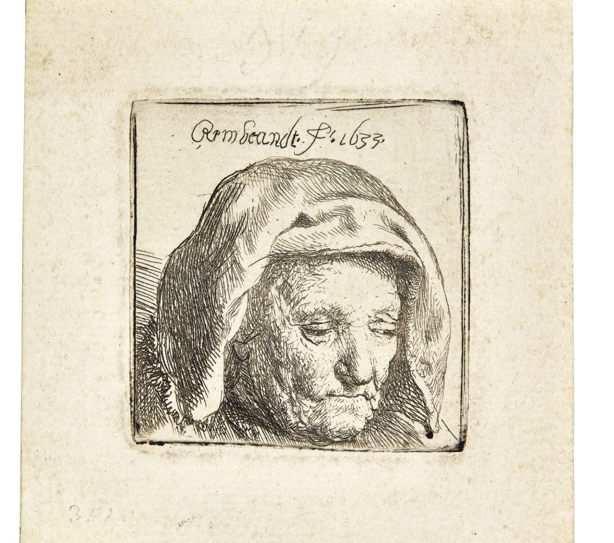 View full screen - View 1 of Lot 59. REMBRANDT HARMENSZ. VAN RIJN | THE ARTIST'S MOTHER IN A CLOTH HEADDRESS, LOOKING DOWN: HEAD ONLY (B., HOLL. 351; NEW HOLL. 121; H. 107).