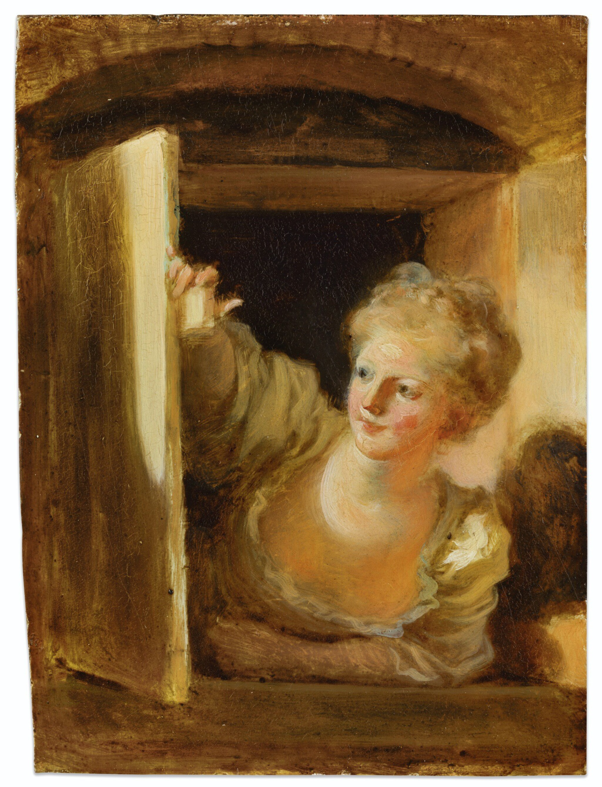 View 1 of Lot 73. JEAN HONORÉ FRAGONARD | A YOUNG WOMAN LEANING OUT OF A WINDOW.