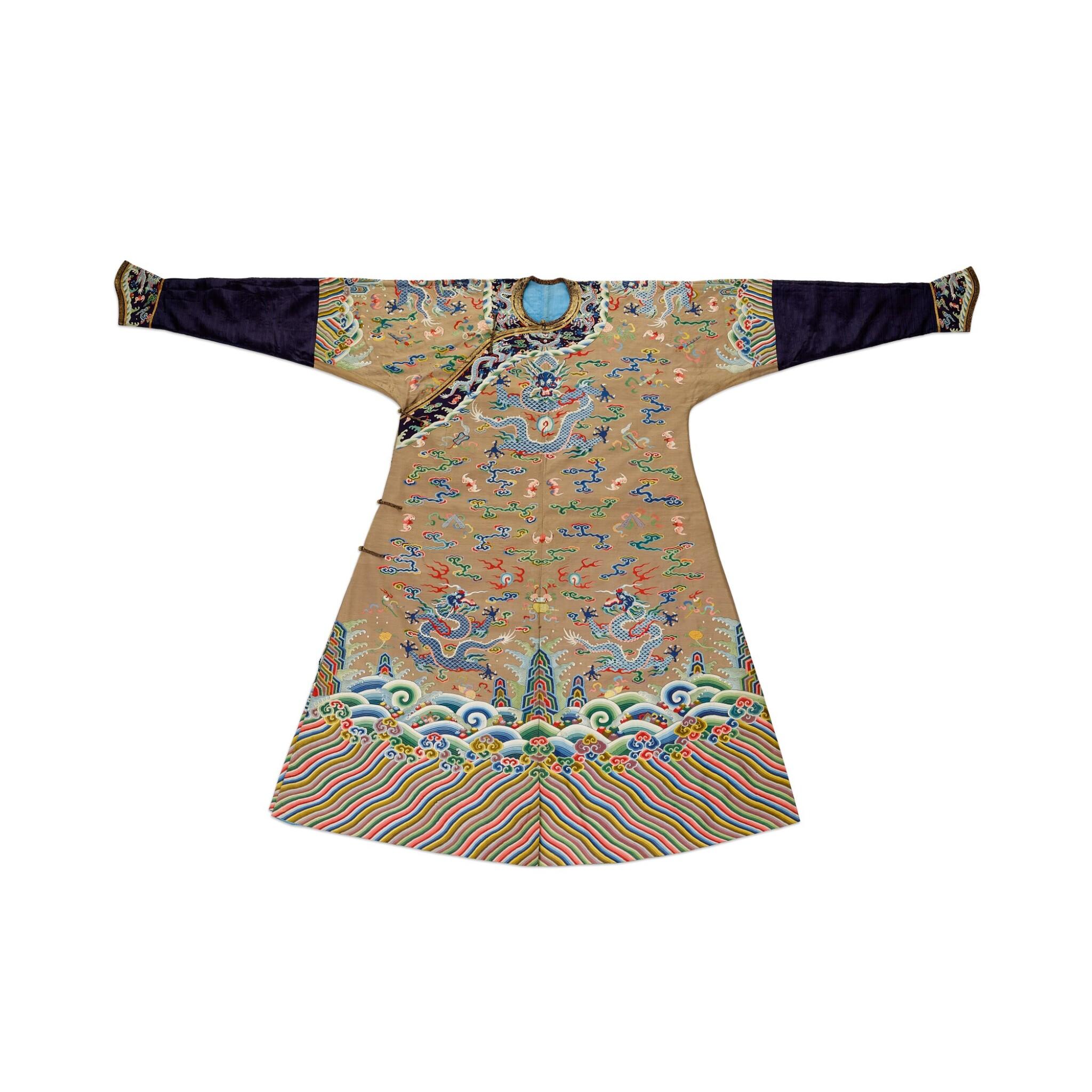 View full screen - View 1 of Lot 3604. A brown-ground 'dragon' kesi robe, jifu Qing dynasty, 18th century | 清十八世紀 駝色緙絲八吉祥雲蝠九龍吉服袍.