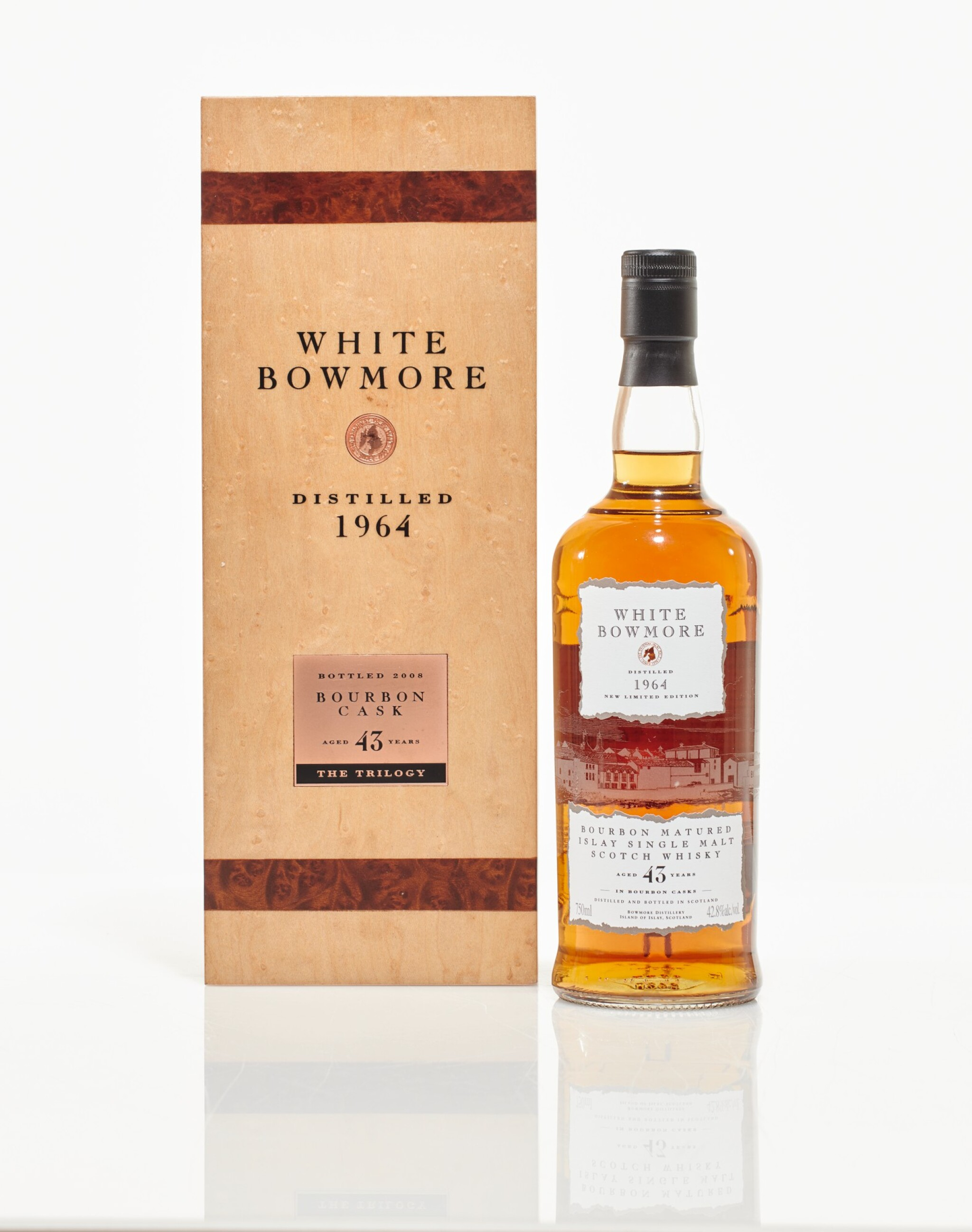 View full screen - View 1 of Lot 33. Bowmore White Bourbon Cask 43 Year Old 42.8 abv 1964 (1 BT75cl).