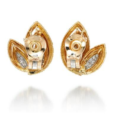 View 3. Thumbnail of Lot 8.  PAIR OF GOLD AND DIAMOND EAR CLIPS | VAN CLEEF & ARPELS, 1970S.