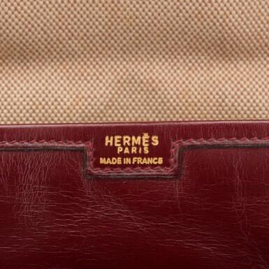 View 6. Thumbnail of Lot 24. Hermès Vintage Rouge H Box Jige Elan Clutch 29cm.