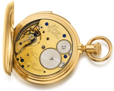 View 4. Thumbnail of Lot 44. A. LANGE & SÖHNE, GLASHÜTTE/DRESDEN   [朗格,格拉蘇蒂/德累斯頓]  | A FINE GOLD HUNTING CASED MINUTE REPEATING KEYLESS LEVER WATCH WITH CERTIFICATE AND PRESENTATION BOX  CIRCA 1883, NO. 16006 [黃金三問懷錶附證書及錶盒,年份約1883,編號16006].