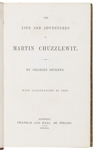 Dickens, Martin Chuzzlewit, first book edition, publisher's finely bound copy